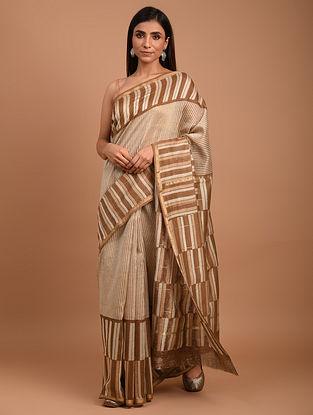 Brown  Block Printed Chanderi Silk  Saree