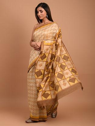 Beige  Block Printed Chanderi Silk  Saree