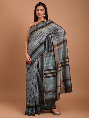Grey  Block Printed Chanderi Silk  Saree