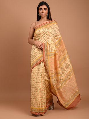 Orange  Block Printed Chanderi Silk  Saree