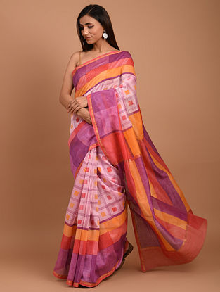 Pink  Block Printed Chanderi Silk  Saree