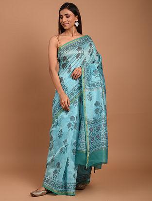 Blue  Block Printed Chanderi Silk  Saree