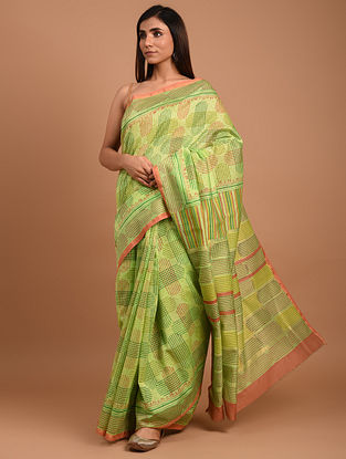 Green  Block Printed Chanderi Silk  Saree
