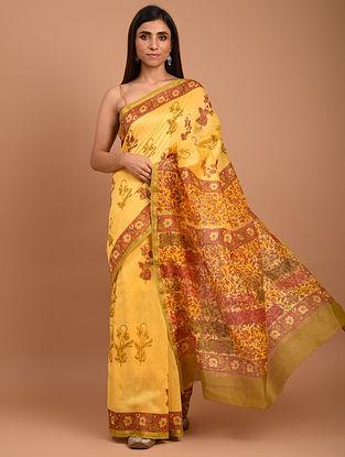 Yellow  Block Printed Chanderi Silk  Saree