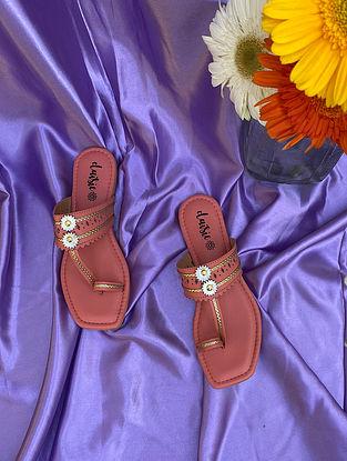 Coral Peach Handcrafted Vegan Leather Kolhapuri Flats
