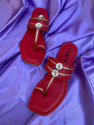 Red Handcrafted Vegan Leather Kolhapuri Flats