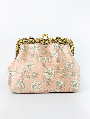 Light Pink Handcrafted Printed Raw Silk Clutch