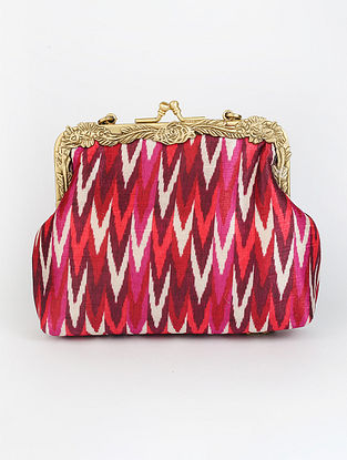 Red Handcrafted Ikat Printed Raw Silk Clutch