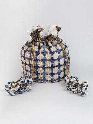 White Blue Handcrafted Printed Raw Silk Potli