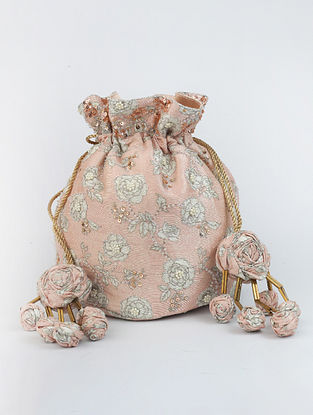 Light Pink Handcrafted Printed Raw Silk Potli