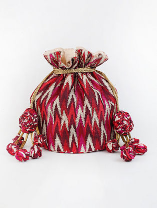 Red Handcrafted Ikat Printed Raw Silk Potli