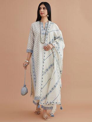 Blue Silk Chanderi Dupatta