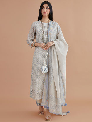 Blue and Pink Cotton Chanderi Dupatta