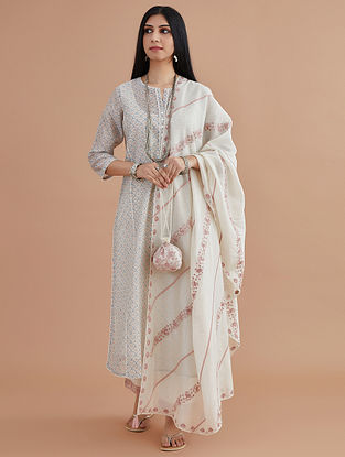 Pink Silk Chanderi Block Printed Kurta