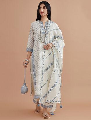 Blue Silk Chanderi Block Printed Kurta