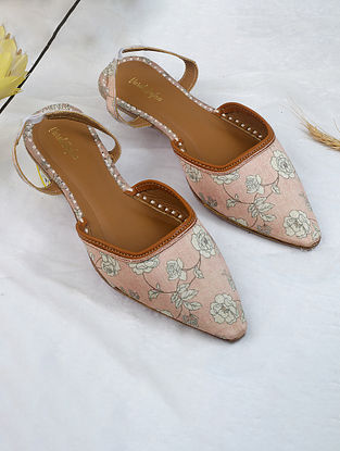 Light Pink Gold Handcrafted Printed Silk Mules