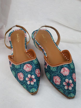 Emerald Green Pink Handcrafted Printed Silk Mules