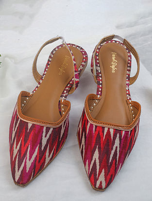 Red Handcrafted Printed Ikat Silk Mules