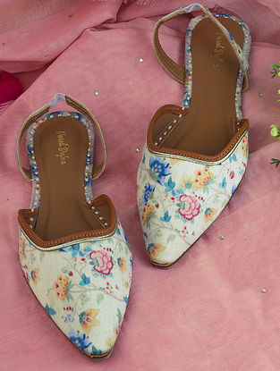 Multicolored Handcrafted Printed Silk Mules