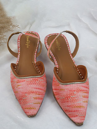 Peach Handcrafted Printed Silk Mules