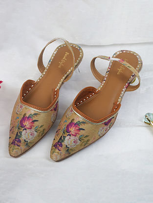Gold Handcrafted Printed Silk Mules