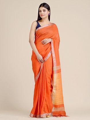 Orange Handwoven  Linen Saree