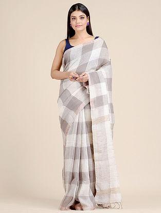 White Handwoven  Linen Saree