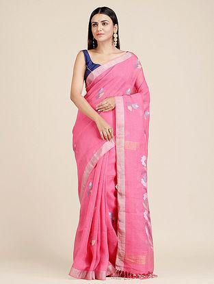 Pink Handwoven  Linen Saree