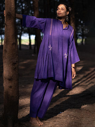 Violet Handwoven Cotton Top with Pants