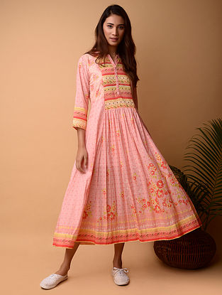 Pink Cotton Dress with Mirror Work