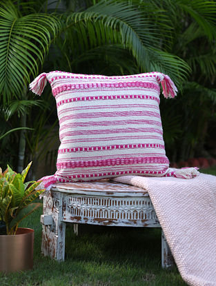 Ivory And Fuschia Pink Cotton Woven Cushion Cover With Tassels (L-17in, W-17in)