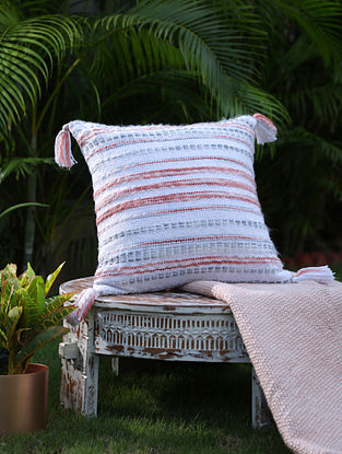 Multicolor Cotton Woven Cushion Cover With Tassels (L-17.5in, W-17.5in)