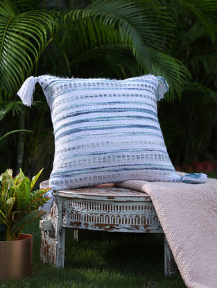 White And Green Cotton Woven Cushion Cover With Tassels (L-17in, W-17in)