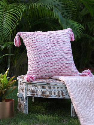 Ivory And Pink Cotton Woven Cushion Cover With Tassels (L-17in, W-17in)
