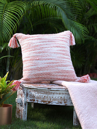 Ivory And Rust Cotton Woven Cushion Cover With Tassels (L-17in, W-17in)