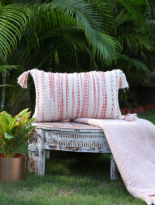 Ivory And Rust Cotton Woven Cushion Cover With Tassels (L-12in, W-19in)
