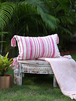 Ivory And Fuschia Pink Cotton Woven Cushion Cover With Tassels (L-12in, W-19in)