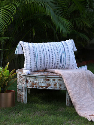 White And Green Cotton Woven Cushion Cover With Tassels (L-12in, W-19in)
