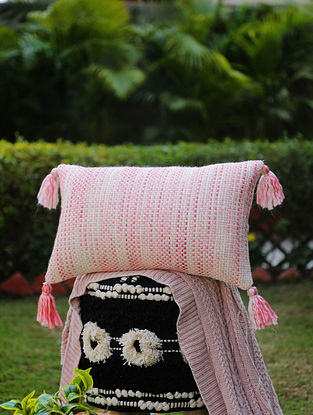 Ivory And Pink Cotton Woven Cushion Cover With Tassels (L-12in, W-19in)