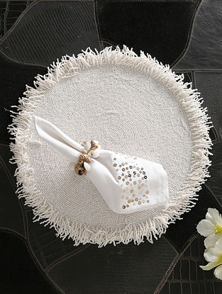White Hand Beaded Placemat (D-15in)