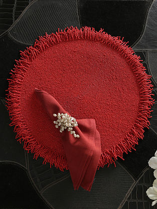 Red Hand Beaded Placemat (D-15in)