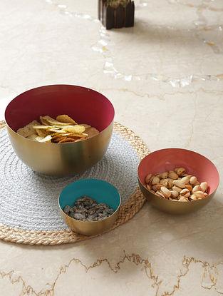 Multicolor Iron Powder Coated Bowls (Set Of 3)