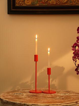 Orange Aluminium Powder Coated Candle Holders (Set Of 2)
