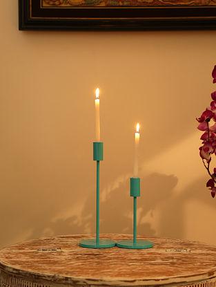Aqua Blue Aluminium Powder Coated Candle Holders (Set Of 2)