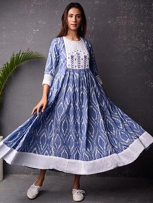Blue and White Ikat Cotton Dress
