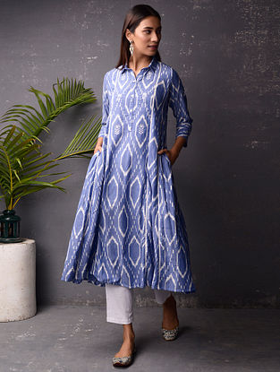 Blue and White Ikat Cotton Kurta