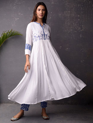 White and Blue Cotton Kurta