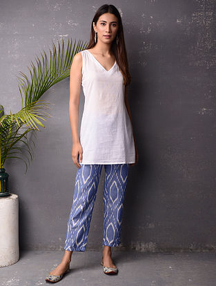 Blue and White Ikat Cotton Pants