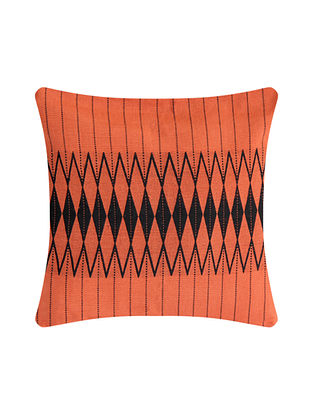 Kalabaka Orange and Black Cotton Handwoven Tribal Cushion Cover (L-16in, W-16in)