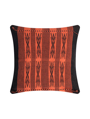 Japfu Orange and Black Cotton Handwoven Tribal Cushion Cover (L-16in, W-16in)